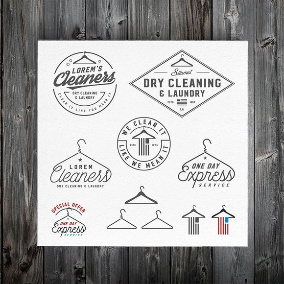 Vintage dry cleaning emblems, labels by 1baranov on Creative Market