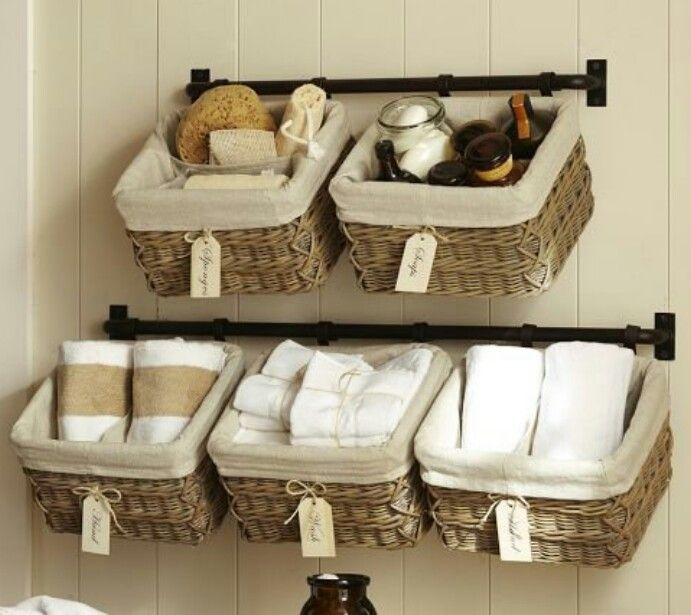 Pottery Barn Bathroom Baskets - Great for a cottage/small space to help with cute storage space