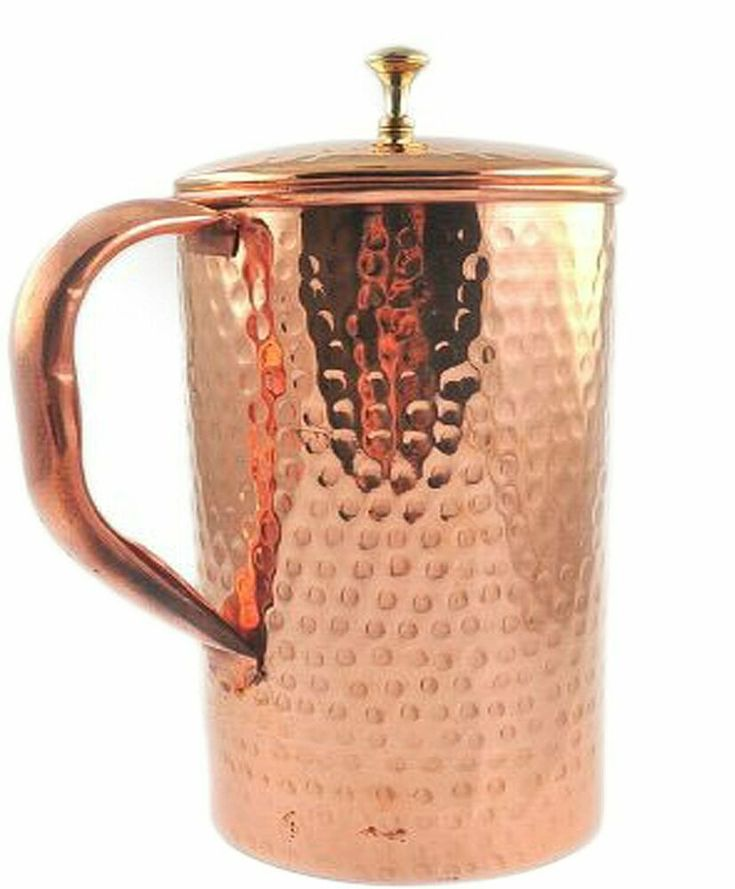 Restaurants. 100/% Pure Copper Handcrafted Embossed Pitcher//Jug//Tumbler with Lid Serveware drinkware for Ayurvedic Health Benefits for Home Chritmas Gift//Chritmas Sale Copper Jug Kitchen