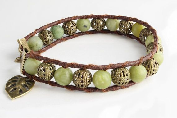 This very stylish Taiwan Jade (8mm beaded) bracelet with a cute leaf chain will fit you or a loved one perfectly!  Jade is said to bless