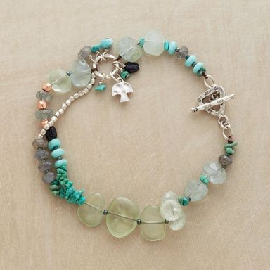 "SAVASANA BRACELET -- Cool and calming, our partly doubled bracelet combines turquoise, prehnite, labradorite, moss aquamarine and green tourmaline with silver beads. Sterling toggle clasp. Exclusive. Natural stones will vary in size and color. Approx. 7-1/2""L."