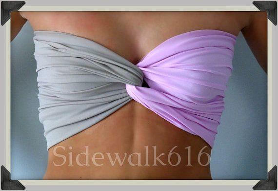Lilac Bandeau Grey Bandeau Top Spandex Bandeau Bikini Swim Bandeau Purple <3