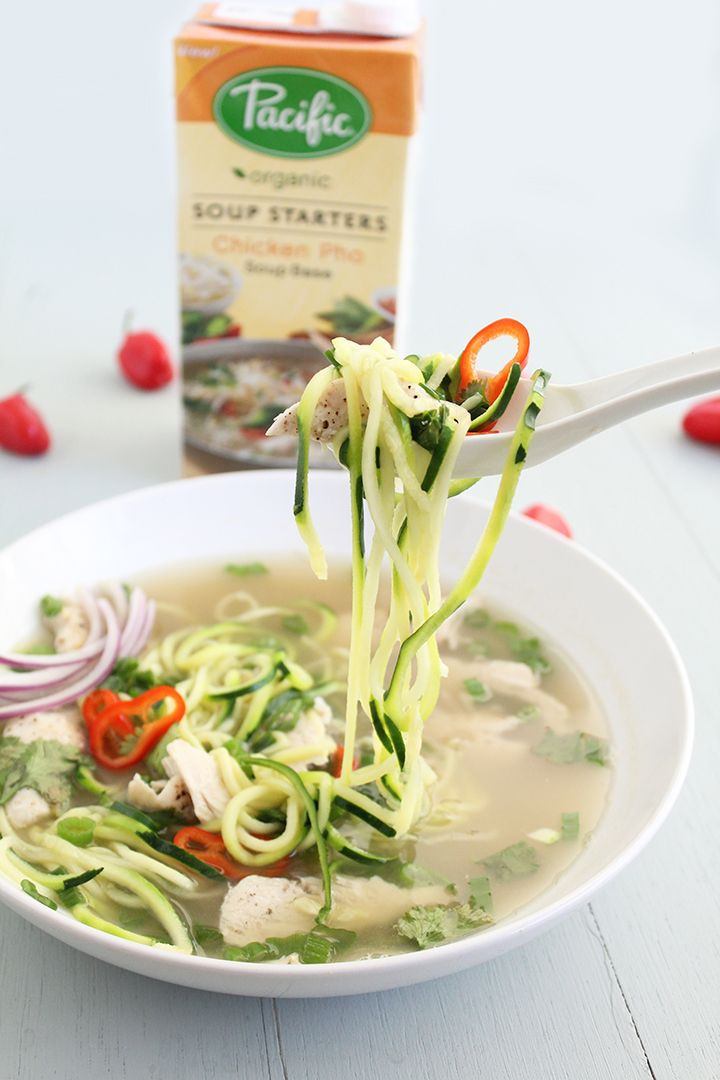 Chicken Pho Zucchini Noodle Soup (Gluten Free!)