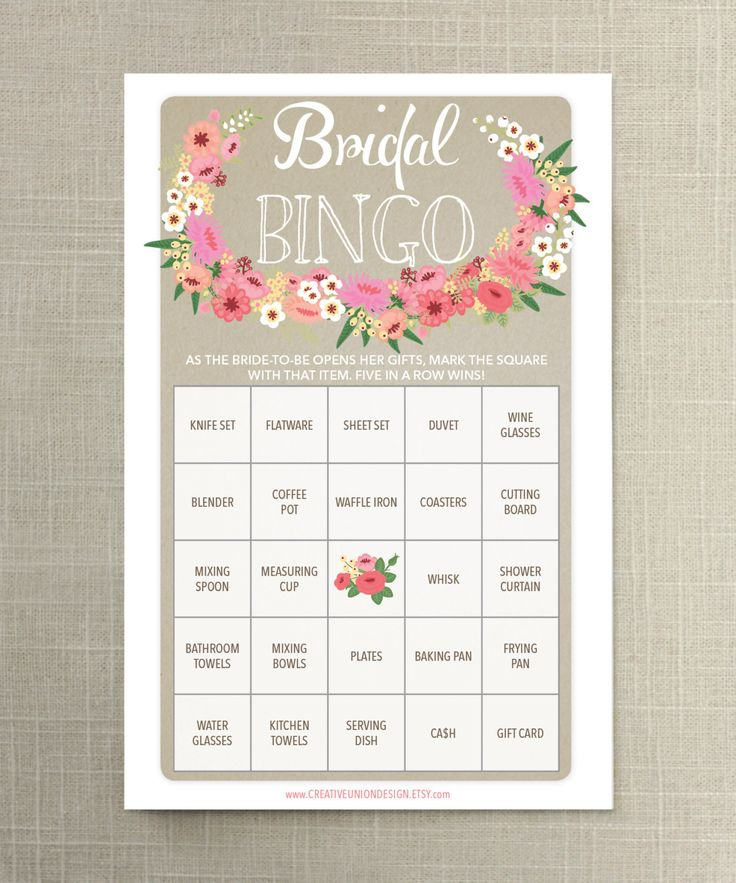 Turn bridal gifts into a game with bridal bingo ($5). Have your guests mark off the gifts as the bride-to-be open them. Use a pen or candy to mark the squares. Five in a row wins!