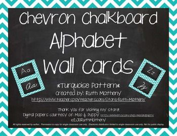 """This set includes 2 complete chevron sets of alphabet word wall cards in turquoise. One set features a Zaner Bloser manuscript font, and one set includes a Zaner Bloser cursive font. Two letter cards print out on each 8.5"""" x 11"""" piece of paper. Print onto cardstock and laminate for durability."""