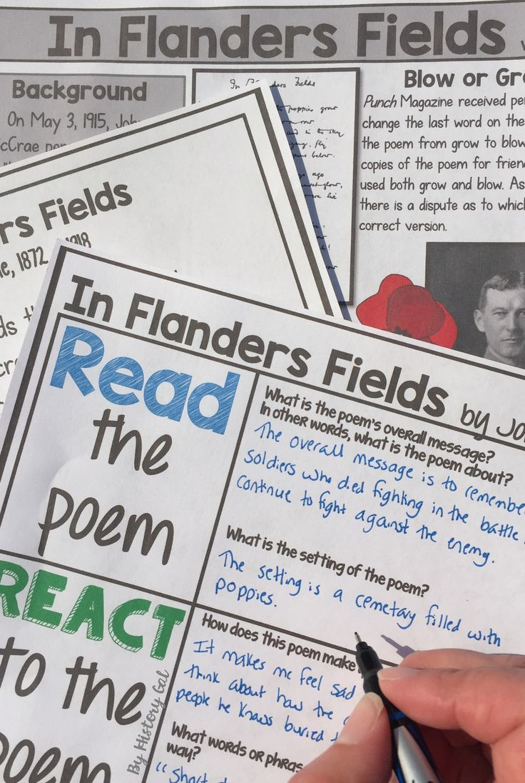 """John McCrae wrote """"In Flanders Fields"""" in 1915 after the Second Battle of Ypres during World War 1. This analysis ties in perfectly to a World War I lesson or a Veterans or Remembrance Day lesson. This resource can be used with your 6th, 7th, 8th, 9th, or 10th grade classroom or homeschool students. You receive the poem, poem analysis worksheet, Draw It activity, background handout, 10 question worksheet, and answer keys. Middle School & High School approved! $"""
