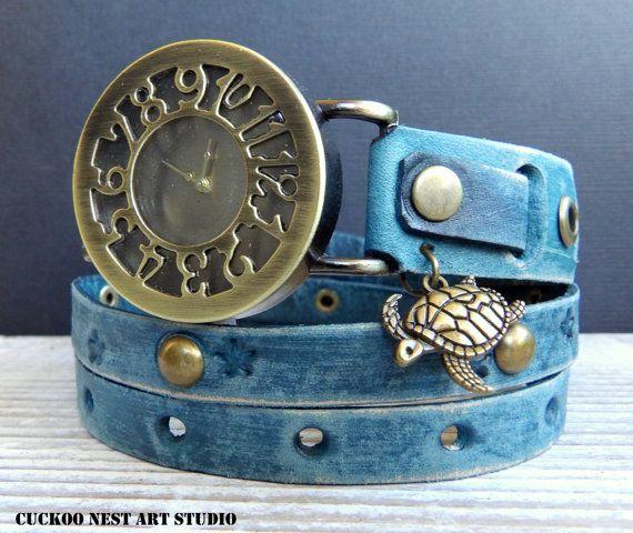 Leather Watch, Women's Watch, Leather Wrap #accessories #watch @EtsyMktgTool #watchbracelet #vintagewatch #wristwatch #braceletwatch