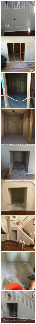 Dog room built under the stairs. There is often a huge amount of wasted space under stairs. Check it out...