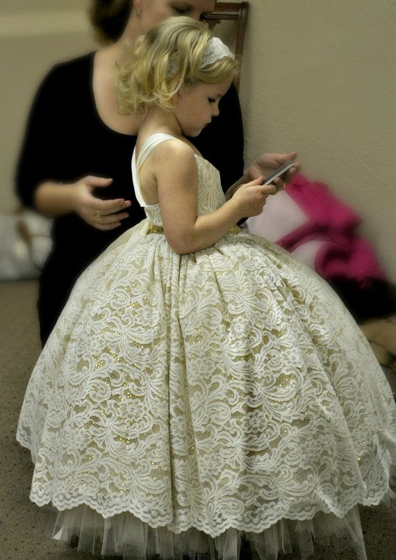 flower girl dress, lace and gold sequin ivory tutu dress, lace flower girl dress