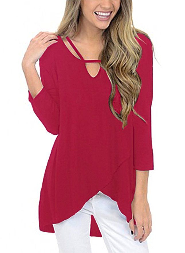 521ace169d678 HOTAPEI Women s Blouses Casual Loose Shirts Cross V Neck 3 4 Sleeve Tunic  Tops and Blouses Plus Size XXL Red