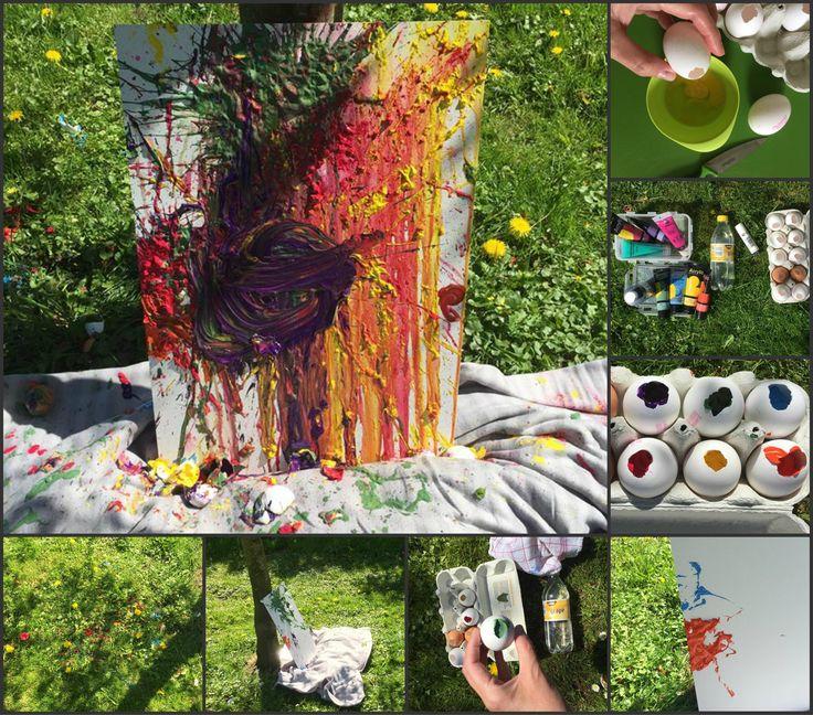 Æggeskaller med maling  Kast æggene på lærredet og se hvordan dit billede udvikler sig...... Jeg har brugt akrylmaling. Det er fortyndet en smule med vand for at få en bredere effekt.
