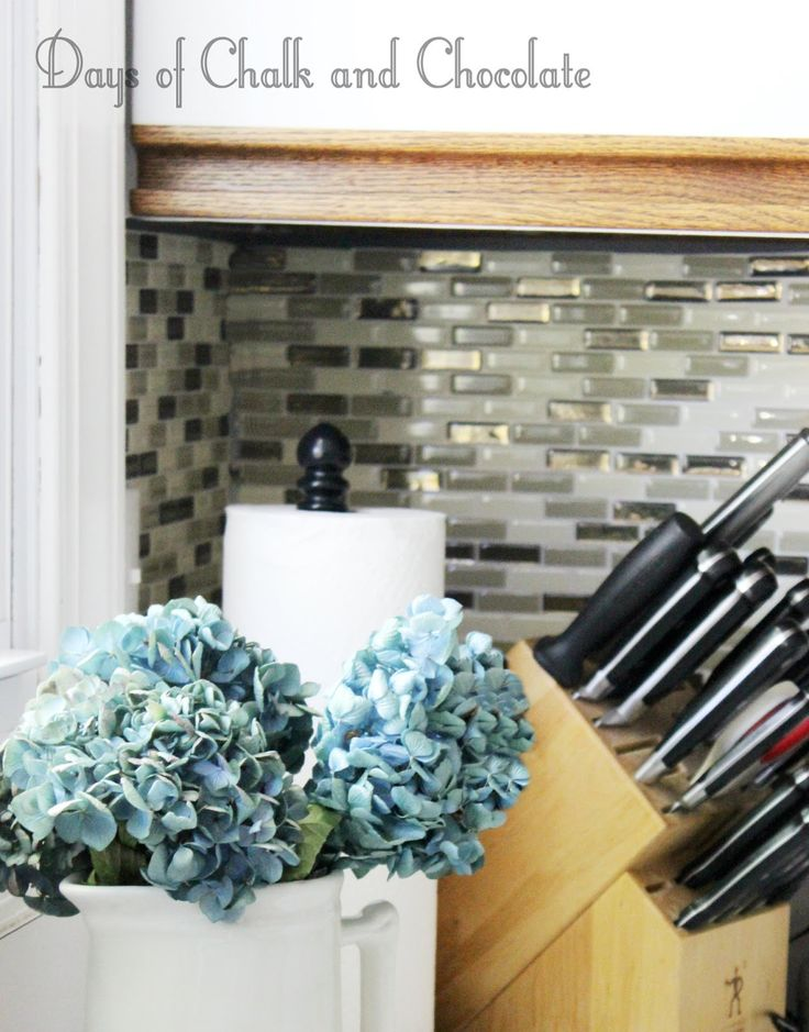 Days Of Chalk And Chocolate: Easy DIY Self Adhesive Faux Tile Backsplash