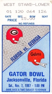 FOOTBALL ART made from an authentic FLORIDA vs. GEORGIA football ticket from 1987. Terrific Father's Day Gift!