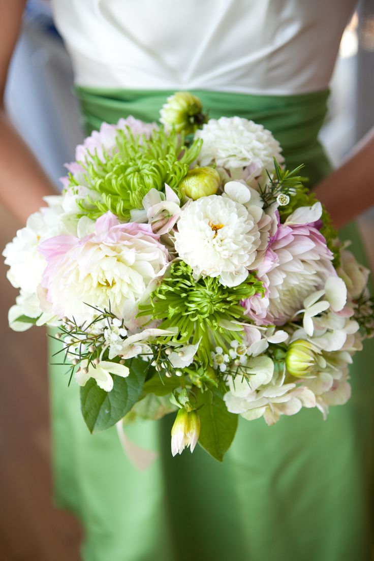 Green And White Wedding Flower Bouquet With Pink Accents At The Inn At