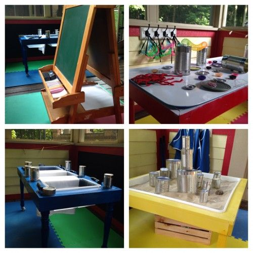Cans of various sizes - with safe openings - in sand table - sensory table - as musical instruments - building blocks - Virtual Tour of Preschool Classroom by Teach Preschool