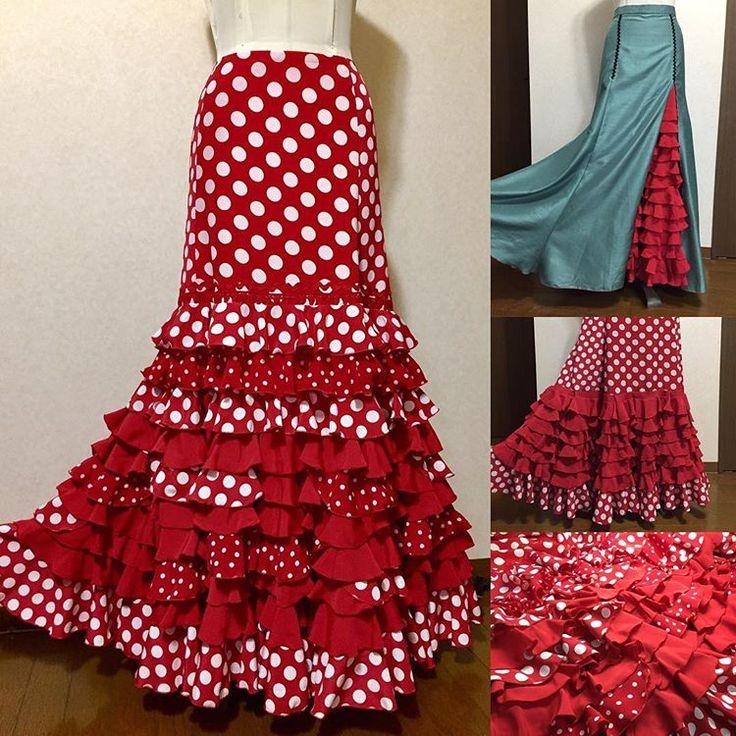 ryokoさんのリフォームファルダ♬ Before & After の変化がスゴすぎ?(^^;; もともとのフリルパーツを利用して華やかに生まれ変わりました♡ #フラメンコ衣装 #flamencodresses #flamenco💃🏻