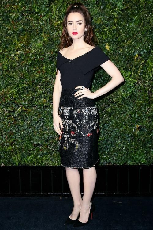 #LilyCollins at #Chanel & Charles Finch's Pre-Oscar Dinner, February 25, 2017 #Oscars