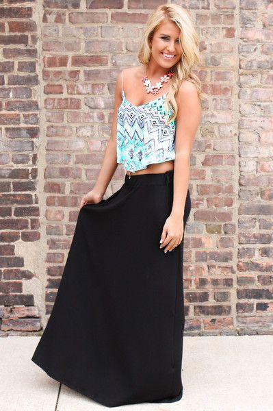 Black Maxi Skirt with Pockets
