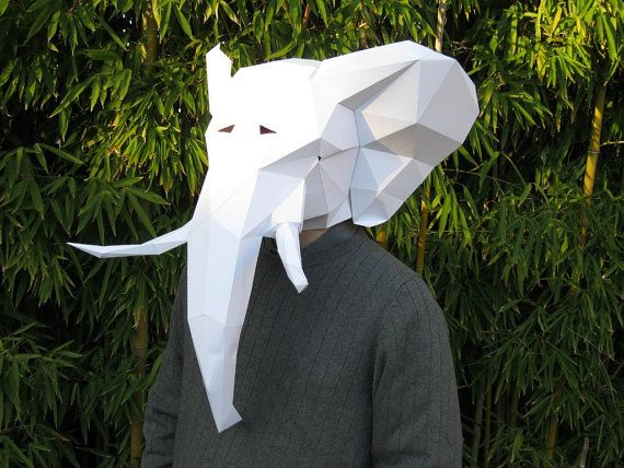 Make your own elephant mask with just paper and glue for Puffer fish costume