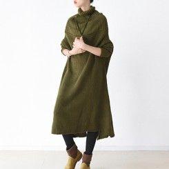 2016 New winter knit dresses in tea green plus size turtle neck sweaters open hem