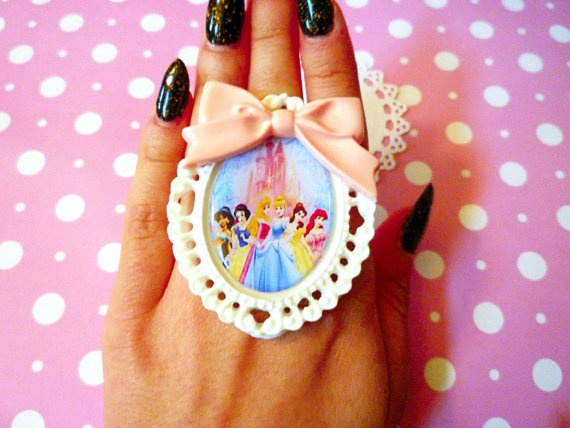 Not being age-appropriate is the new age-appropriate. Disney Princess Pastel Cameo Ring by SweetandPetitee on Etsy, $8.00