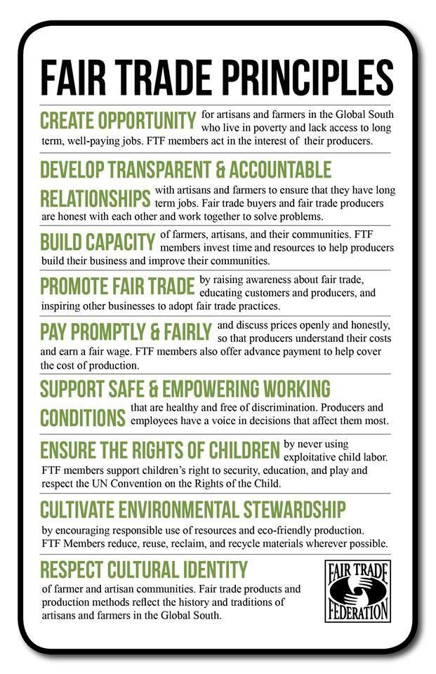 Fair Trade Principals Spread by www.compassionateessentials.com and http://stores.ebay.com/fairtrademarketplace/ stores supporting #fairtrade.