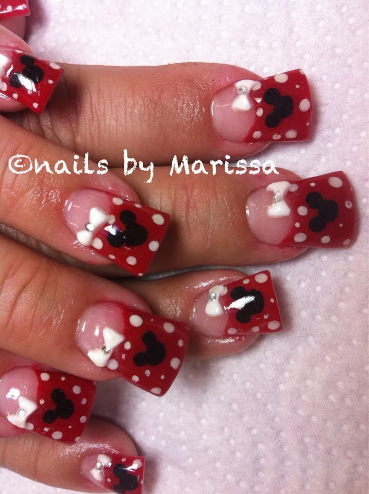 Minnie mouse acrylic nails | Uñas minnie, Uñas y ...