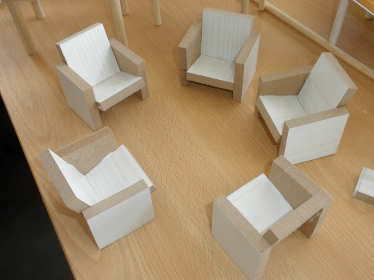 How to make simple chunky dollhouse furniture from squares of thick balsa  Source: