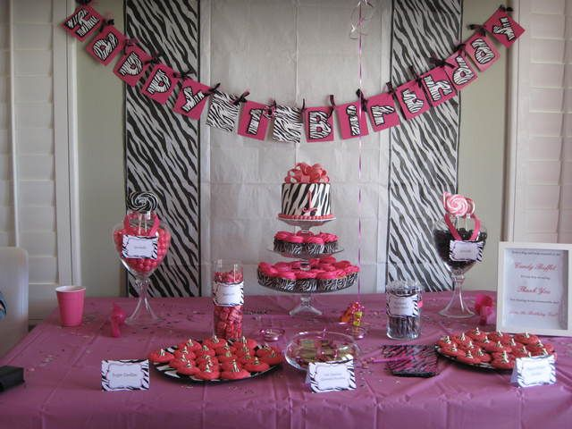 Zebra and Pink Birthday Party Theme Ideas -- Create a dessert table using zebra print with a pop of pink to match your zebra theme birthday