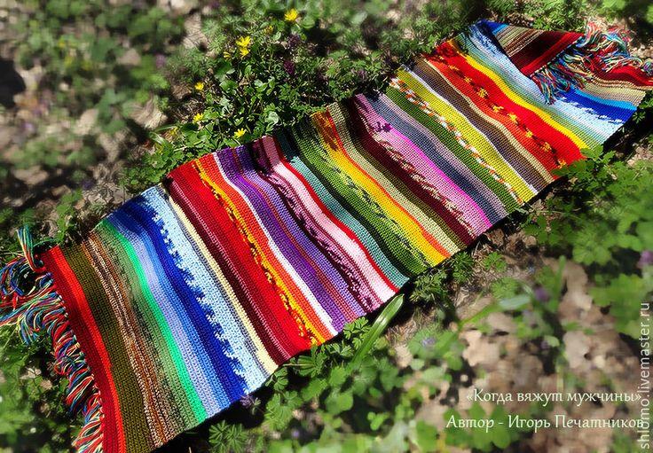 """Купить Вязаный коврик """"Краски лета"""" - комбинированный, коврик, вязаный коврик, коврик вязаный"""