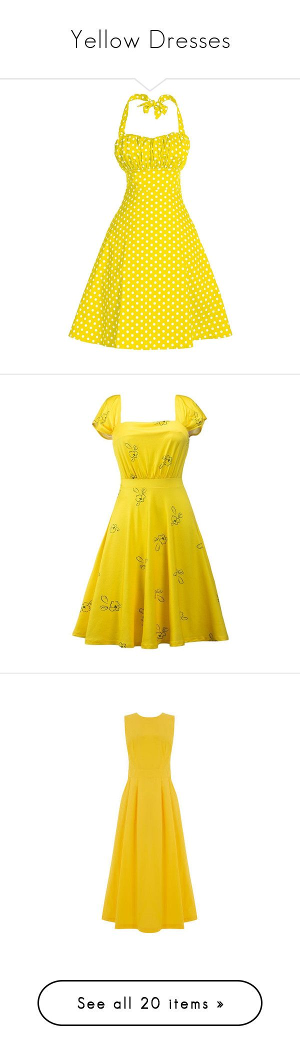 """""""Yellow Dresses"""" by thebesttanyasingh ❤ liked on Polyvore featuring dresses, vintage polka dot dress, vintage evening dresses, vintage cocktail dresses, yellow cocktail dress, yellow dress, yellow prom dresses, party dresses, yellow formal dresses and vintage dresses"""