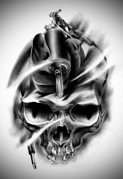 Ideas Tatuajes Calaveras 12 Body Tattoo Design Tattoo Machine Design Skull