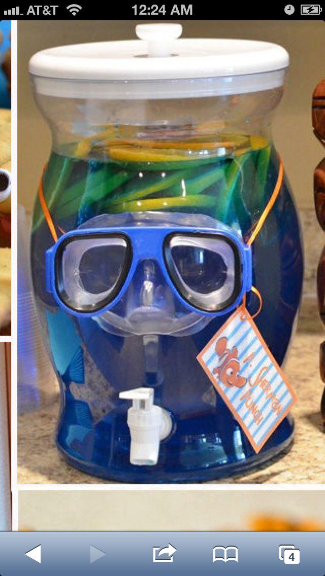 Blue Kool-aide with scuba mask.