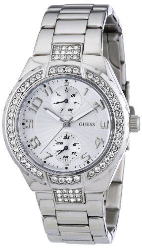 GUESS Women's W12609L1 Steel Stainless Steel Crystal Accent Watch