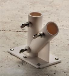 2 Way PVC Flag Pole Holder Wall Bracket - attach to a board & use for portable umbrella stand?