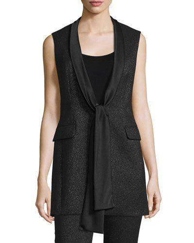 Escada+Shimmery+Satin+Tie+Tuxedo+Vest+Black+|+Clothing