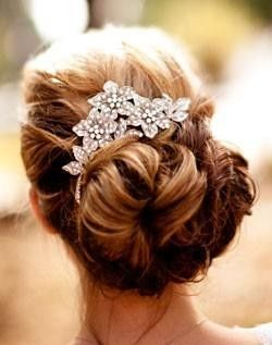 bride2be:  knotted updo with a beautiful, dainty silver hair accessory