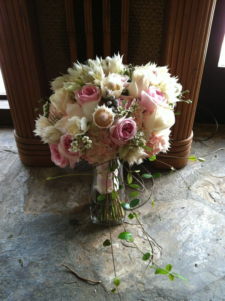 Blushing Bride Protea sure does make a statement! Beautiful July Bouquet in pastels