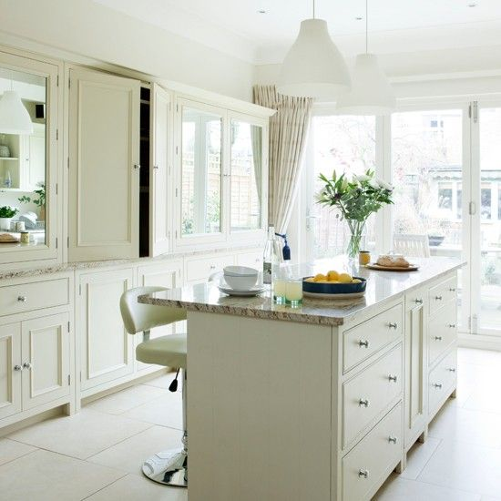 Traditional white kitchens work tops and white kitchens for Traditional white kitchen cabinets