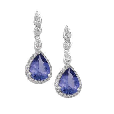 TANZANITE & DIAMOND DROP EARRINGS R84255, Temelli Jewellery