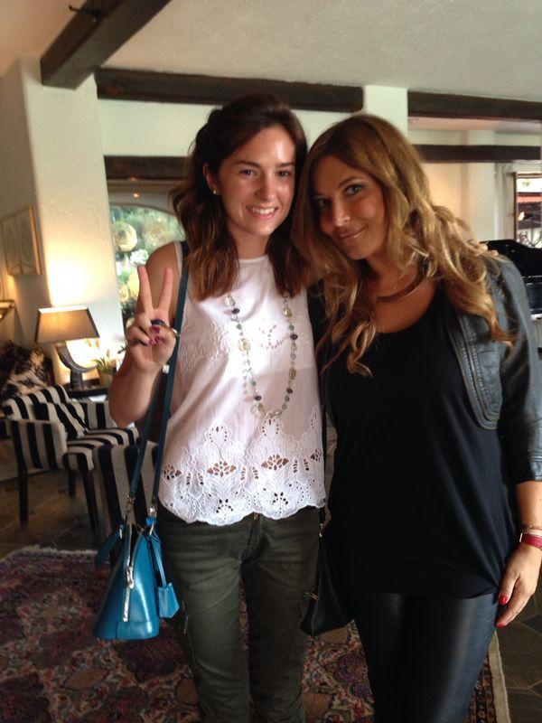 "Eugenia Segre welcoming Selvaggia Lucarelli at ""La MeridianaGarlenda"""