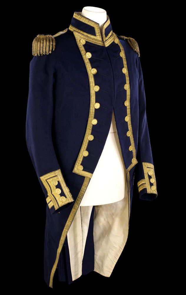 Royal Navy Post Captain uniform coat and waistcoat - from the National Maritime Museum, Greenwich, England -- this style  from 1795-1812