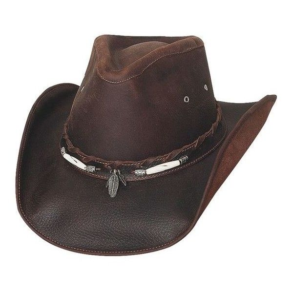 Bullhide Briscoe Leather Cowboy Hat ❤ liked on Polyvore featuring accessories, hats, leather hat, leather cowboy hats, cowboy hat, cowgirl hats and western hats