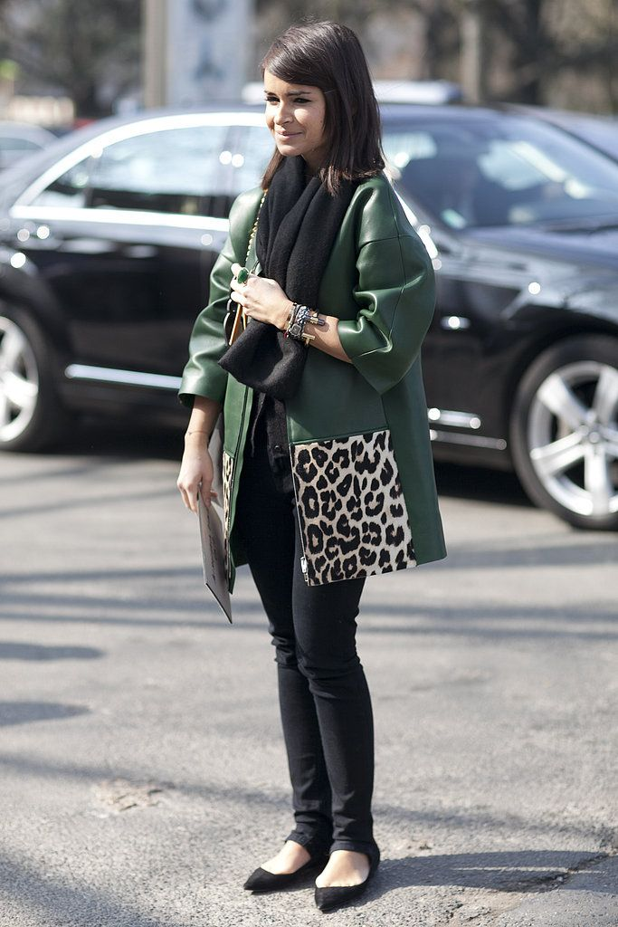 Street Style at Paris Fashion Week Fall 2013   Miroslava Duma gave skinny bottoms a bold complement with an emerald-hued and leopard-print leather topper