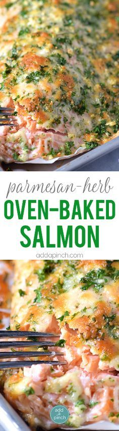 Ingredients 1 salmon filet, about 2 pounds, left whole Parmesan Herb Crust: 3 cloves garlic, finely minced ¼ cup chopped parsley ½ cup chopped Parmesan cheese Instructions Preheat oven to 425º F. Line rimmed baking sheet with parchment paper or aluminum foil for easiest cleanup. Place salmon, skin side down, onto lined baking sheet. Cover …