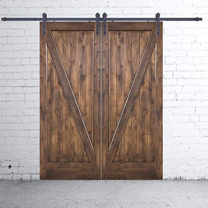 10 Foot Sliding Barn Door Single Track Hardware For Double Doors Heavy Duty Powder Coated Frosted Black I Shaped Hanger Sliding Barn Door Barn Door Hardware