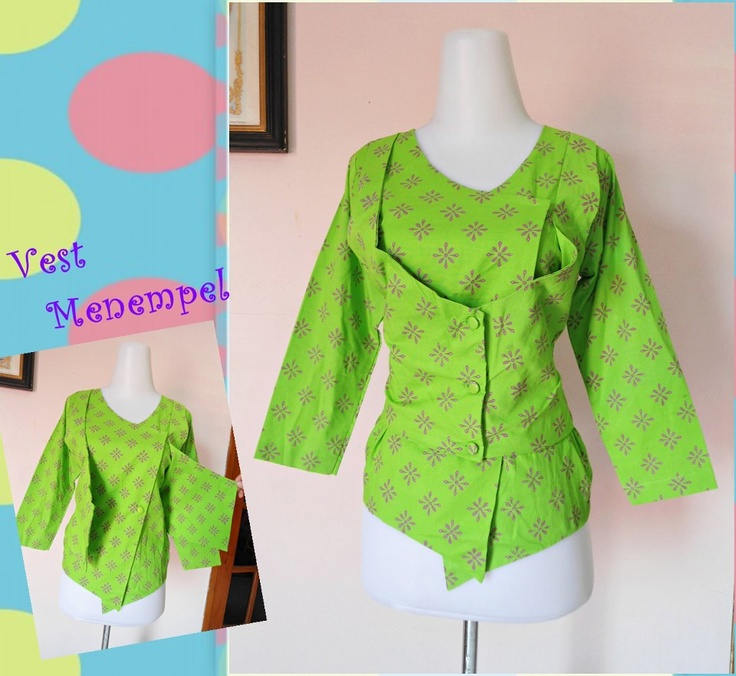 Gwen Blouse  Code: Green  Material: Cotton batik process Cap  Size:  - Chest Circumference: 94cm  - Length: 58cm  - Sleeve length: 46cm  Price: IDR 137,000    Detail Info> Vest attached to clothes, not separate.    STOCK 1 PCS