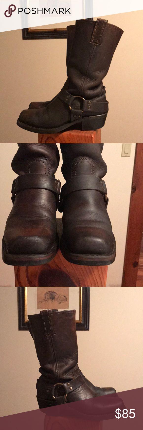 Frye dk brown brass harness boots vintage 7 ladies