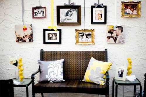 Tavelupphängning: Decor, Ideas, Hanging Pictures, Photo Display, Frames, Wedding, Ribbons, Photo Wall, Photodisplay