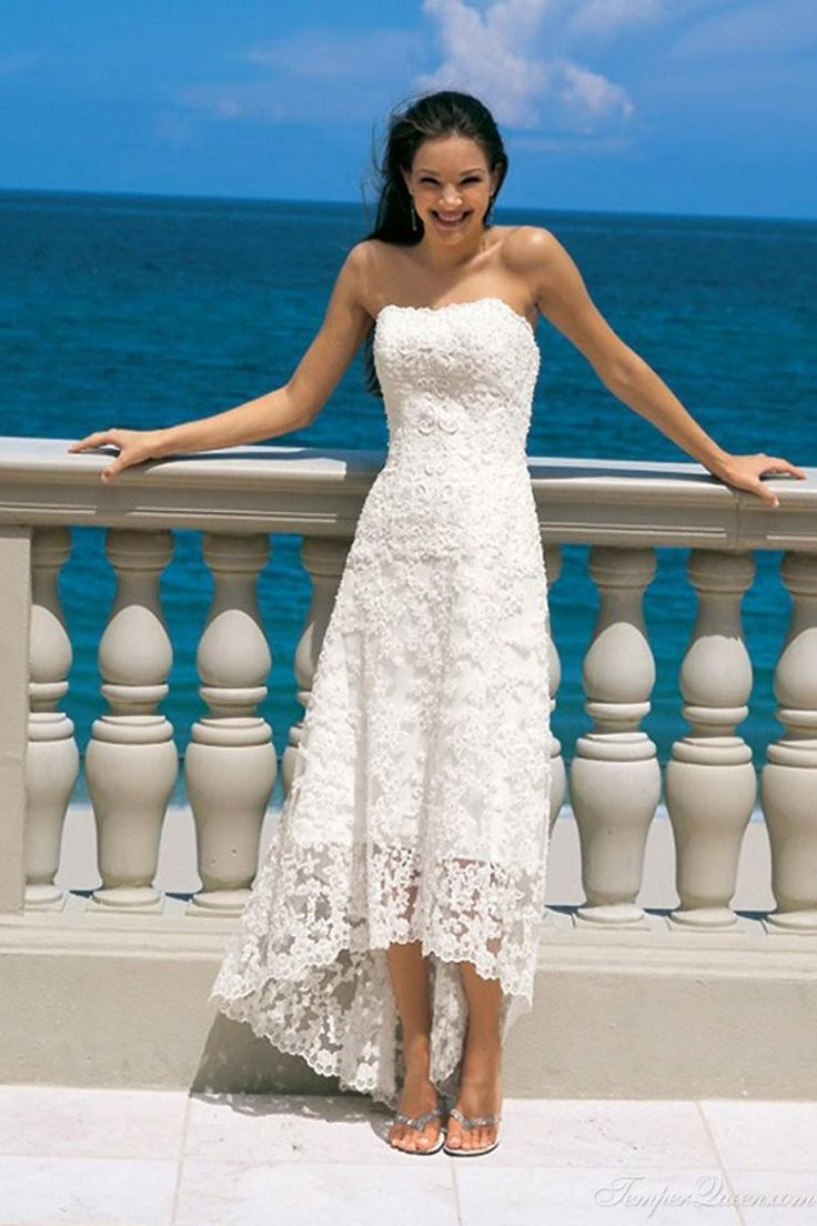 Cheap 2015 A Line Ankle Length Lace Dress Strapless High Low Design Gown Beach Wedding As 6989 Also Buy Casual Dresses Used